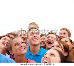 stock-photo-closeup-portrait-of-many-men-and-women-smiling-and-looking-upwards-against-white-background-21087235